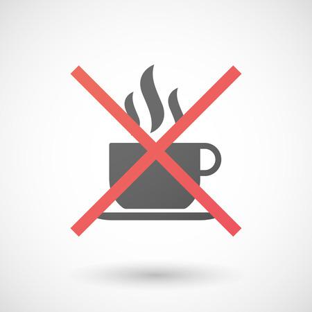 Illustratie van een niet toegestaan icoon met een kopje koffie pf