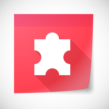 sticky note: Illustration of a sticky note icon with a puzzle piece