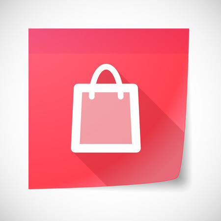 sticky note: Illustration of a sticky note icon with a shopping bag Illustration