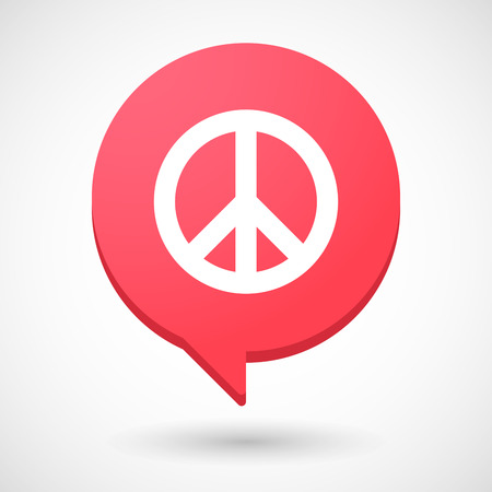 pacifist: Illustration of a comic balloon icon with a peace sign Illustration