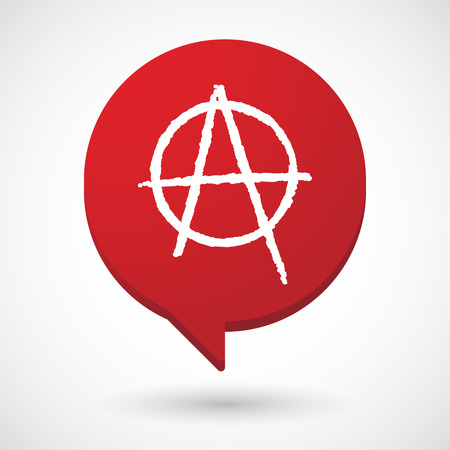 anarchist: Illustration of a comic balloon icon with an anarchy sign
