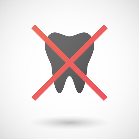 not allowed: Illustration of a not allowed icon with a tooth