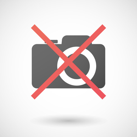 Illustration of a not allowed icon with a photo camera Vector