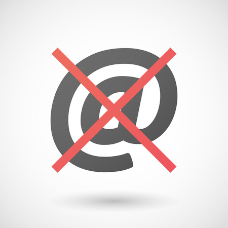 negation: Illustration of a not allowed icon with an at sign