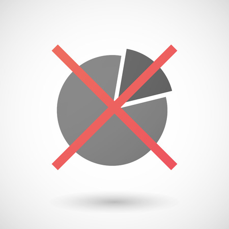 Illustration of a not allowed icon with a pie chart Vector