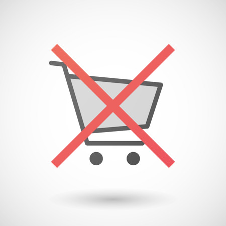 allowed: Illustration of a not allowed icon with a shopping cart