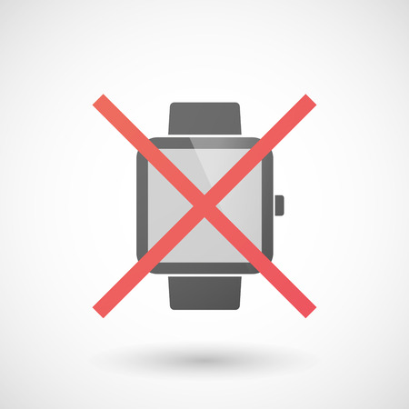 not allowed: Illustration of a not allowed icon with a smart watch Illustration