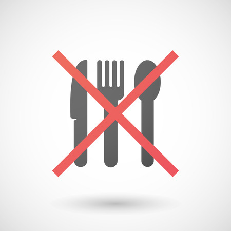 negation: Illustration of a not allowed icon with cutlery