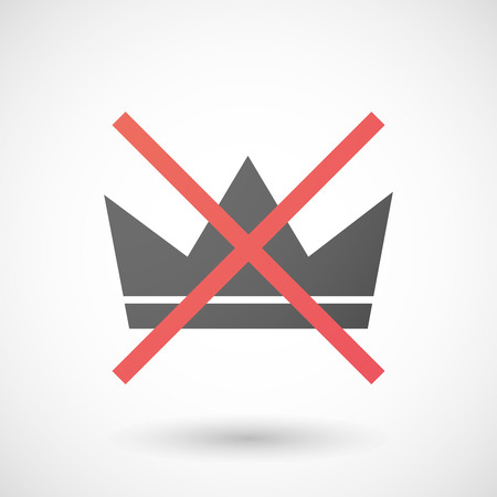 negation: Illustration of a not allowed icon with a crown Illustration