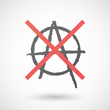 negation: Illustration of a not allowed icon with an anarchy sign