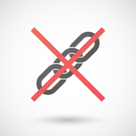 negation: Illustration of a not allowed icon with a chain