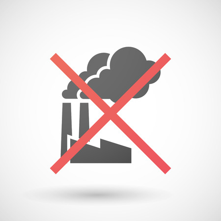 negation: Illustration of a not allowed icon with a factory