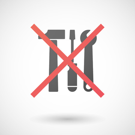 not allowed: Illustration of a not allowed icon with a tool set Illustration