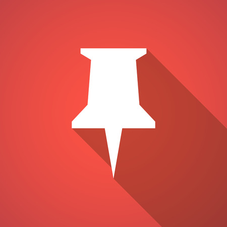 push pin icon: Illustration of a long shadow push pin icon