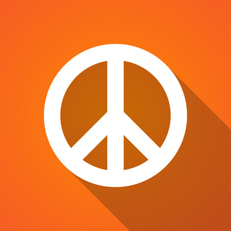 antiwar: Illustration of a long shadow peace icon