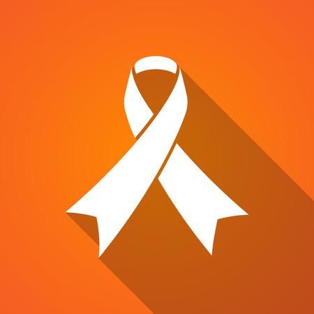 social awareness symbol: Illustration of a long shadow ribbon icon