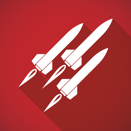 missile: Illustration of a long shadow missile icon