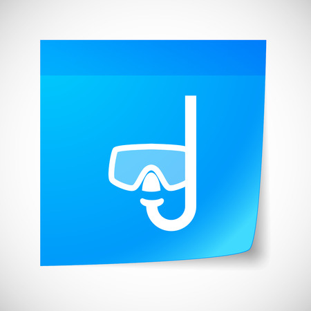 sticky note: Illustration of a sticky note icon with a goggles Illustration