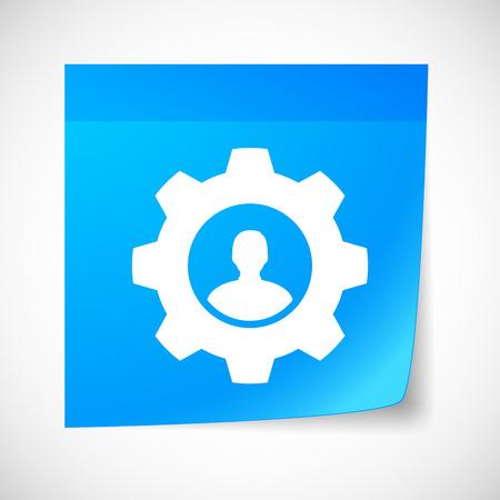 sticky note: Illustration of a sticky note icon with a gear