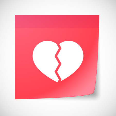 Illustration of a sticky note icon with a broken heart
