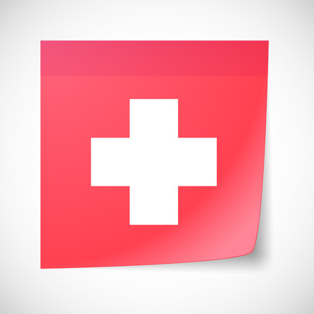 swiss flag: Illustration of a sticky note icon with the swiss flag