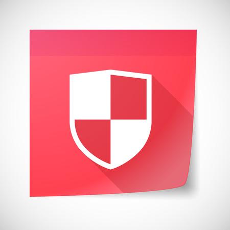 sticky note: Illustration of a sticky note icon with a shield Illustration