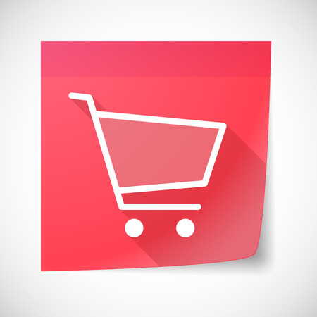 sticky note: Illustration of a sticky note icon with a shopping cart