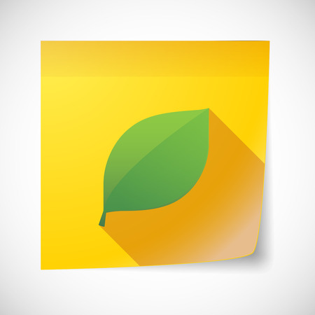 eco notice: Illustration of a sticky note icon with a leaf