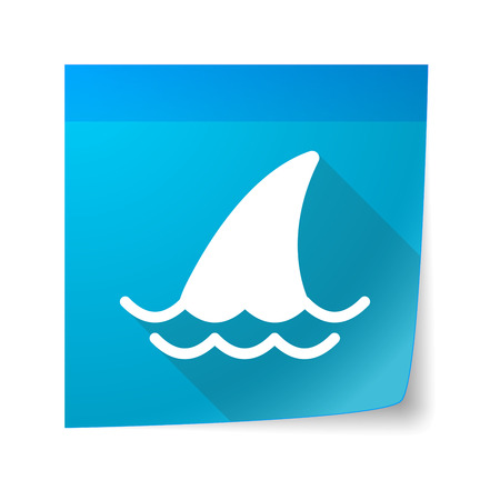 sticky note: Illustration of a sticky note icon with a shark fin
