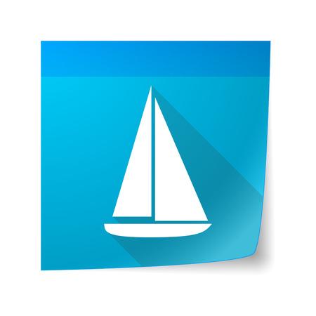 sticky note: Illustration of a sticky note icon with a ship