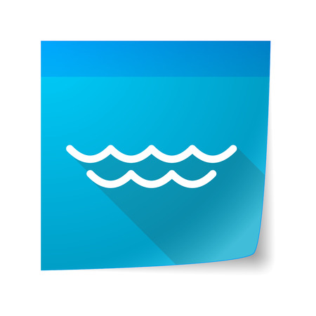 sticky note: Illustration of a sticky note icon with a water sign Illustration