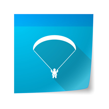 glide: Illustration of a sticky note icon with a paraglider Illustration
