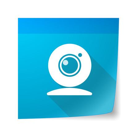 sticky note: Illustration of a sticky note icon with a web cam