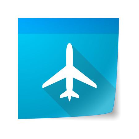 sticky note: Illustration of a sticky note icon with a plane Illustration