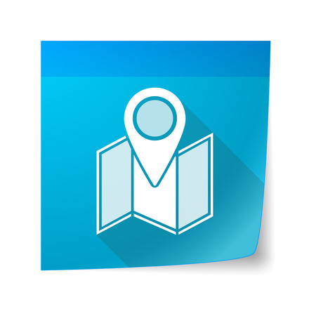 sticky note: Illustration of a sticky note icon with a map