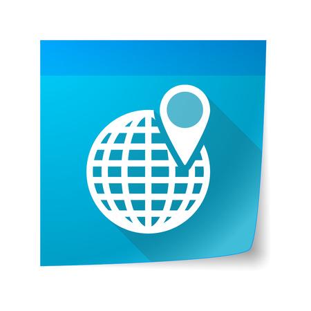 sticky note: Illustration of a sticky note icon with a world globe