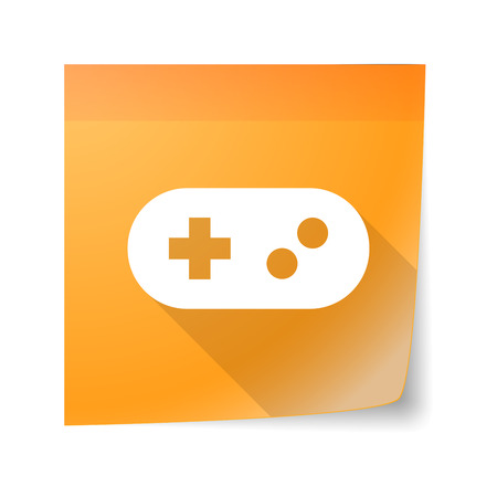 note pad: Illustration of a sticky note icon with a game pad