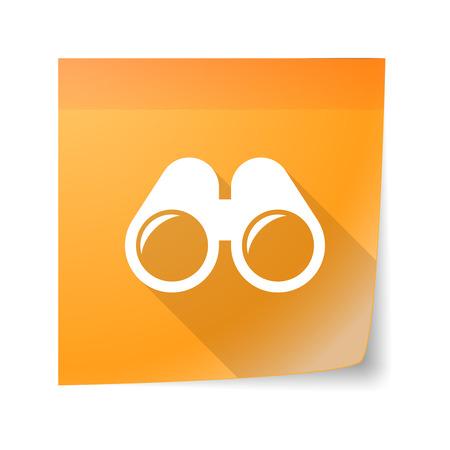 sticky note: Illustration of a sticky note icon with a binoculars