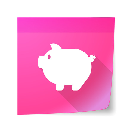 bacon art: Illustration of a sticky note icon with a pig
