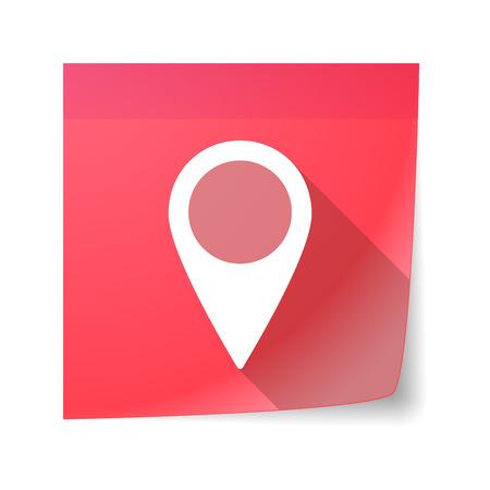 sticky note: Illustration of a sticky note icon with a map mark Illustration