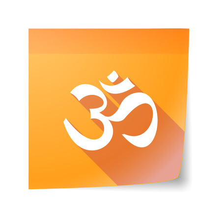 Illustration of an isolated sticky note icon with an om sign Vector