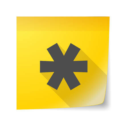 Illustration of an isolated sticky note icon with an asterisk Vector