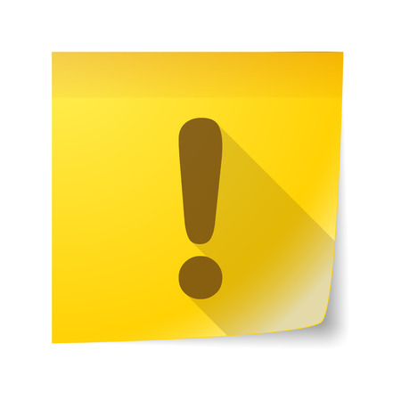 note of exclamation: Illustration of an isolated sticky note icon with an exclamation sign Illustration