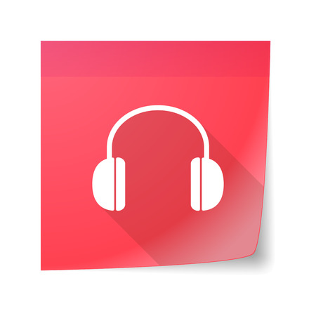 sticky note: Illustration of an isolated sticky note icon with a earphones Illustration