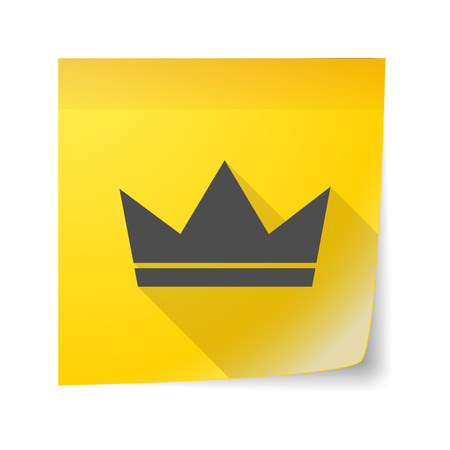 king and queen: Illustration of an isolated sticky note icon with a crown