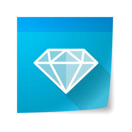 sticky note: Illustration of an isolated sticky note icon with a diamond Illustration