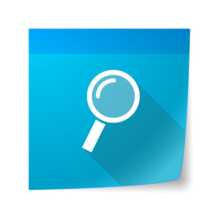 sticky note: Illustration of an isolated sticky note icon with a magnifier