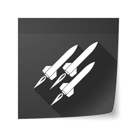 sticky note: Illustration of an isolated sticky note icon with missiles Illustration