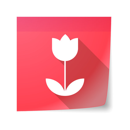 sticky note: Illustration of an isolated sticky note icon with a tulip