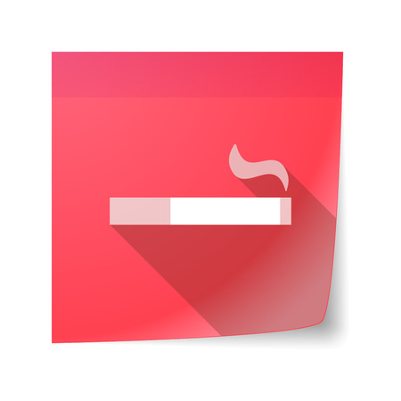 cigar shape: Illustration of an isolated sticky note icon with a cigarette